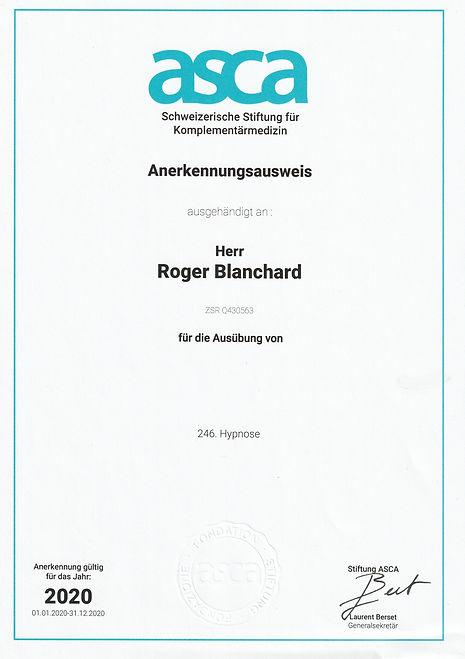 Roger Blanchard Hypnosetherapeut Tafers.