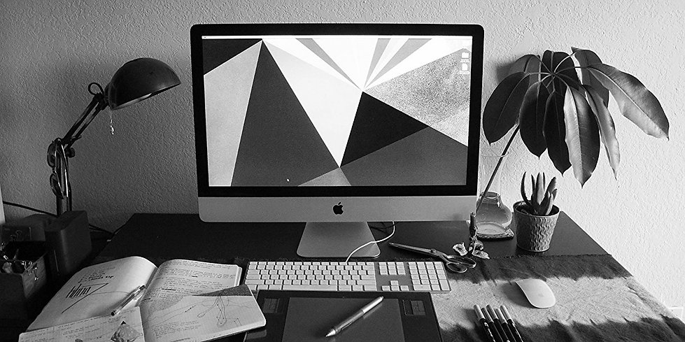 The desk of graphic designer, Kerry Wilson (formerly Kerry Hyatt)