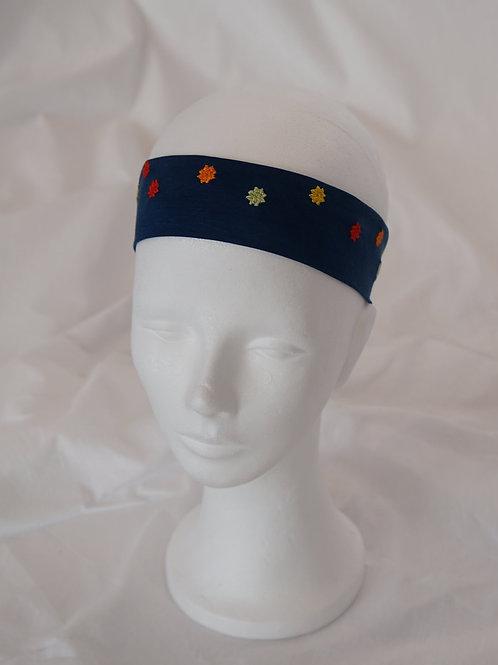 no-waste Lyocell-Haarband indigogefärbt und bestickt  5 cm breit