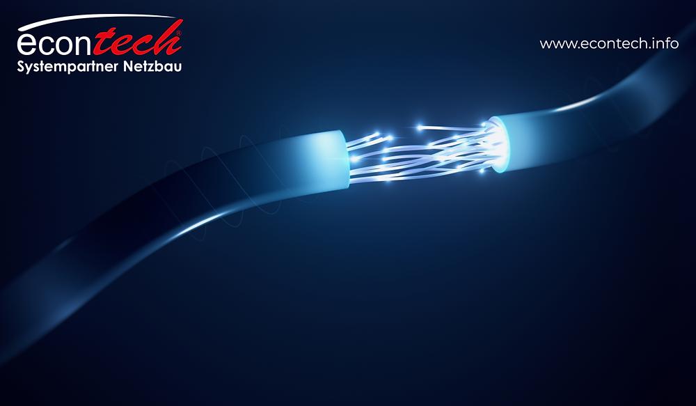 Glasfaserkabel econtech systempartner netzbau Glasfaser Kabelpflug Leitungstiefbau