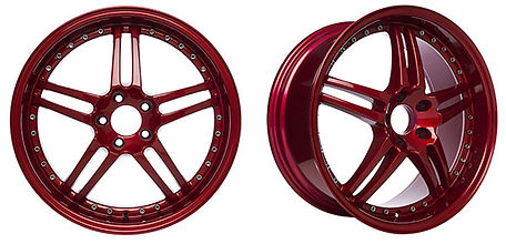 wheel rims with a shiny red metalic powder coating