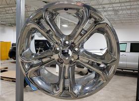 Wheel rim powder coated in chrome.