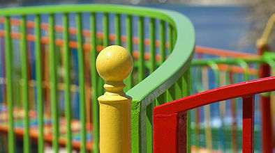 playground fencing with colorful powder coating