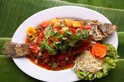 Deep Fried Barramundi fish with Sweet Chilli Sauce
