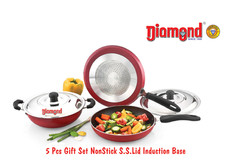 5pcs Gift Set  Non-stick S.S.Lid Induction Base