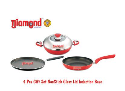 4 pcs Gift Set Non-stick Glass Lid Induction Base
