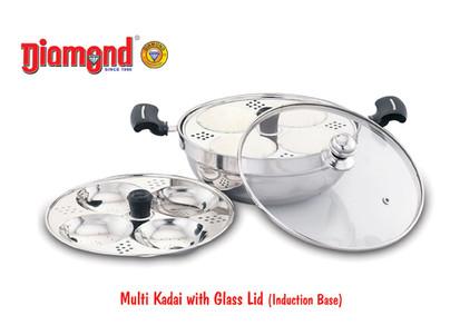 Multi Kadai With Glass Lid (Induction Base) 4Idly