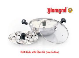 Multi Kadai With Glass Lid (Induction Base) 5Idly