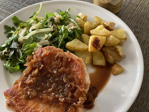 Pork Chops with Hard Cider Pan Sauce, Roasted Fennel-Apple Salad