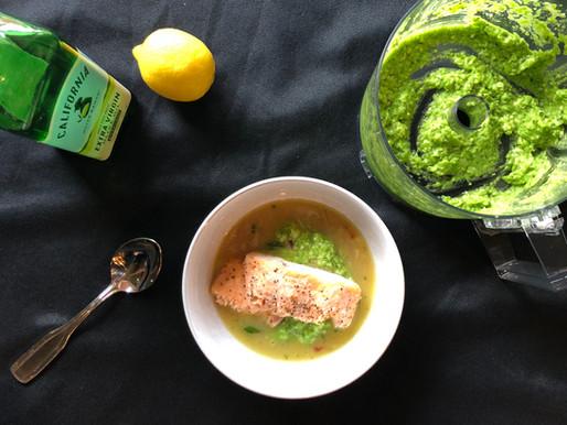 Salmon with Pea Pesto