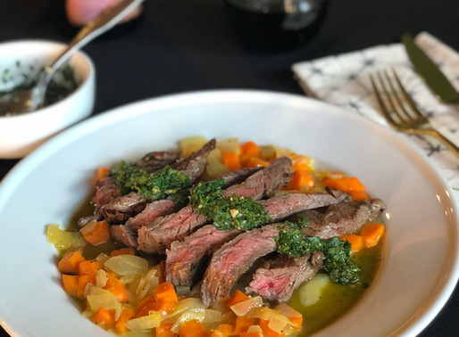 Skirt Steak with Chimichurri and Carrot Hash
