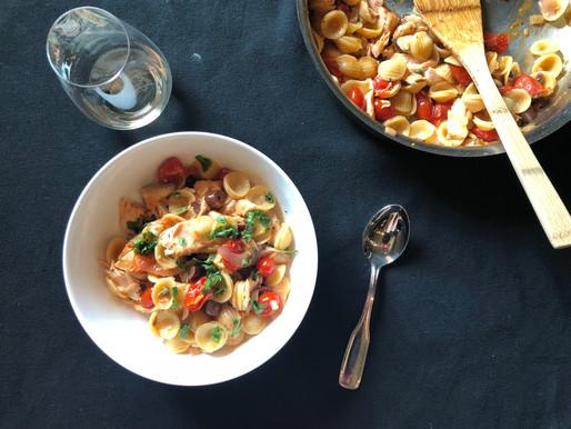Briney Salmon and Tomato Pasta Salad