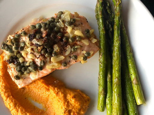 Garlic and Caper Skillet Salmon with Carrot Puree