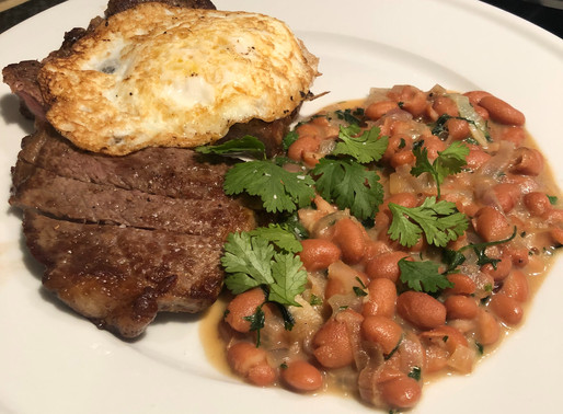Steak and Eggs with Saucy Beans