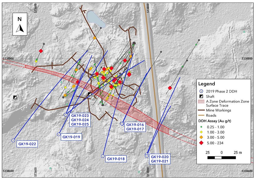 Map 3. LocatioWarrior Gold 2019 A Zone drill holes, Goodfish-Kirana Property