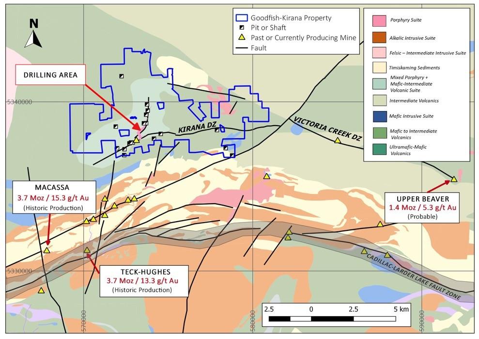 Goodfish-Kirana Property outline and regional geology
