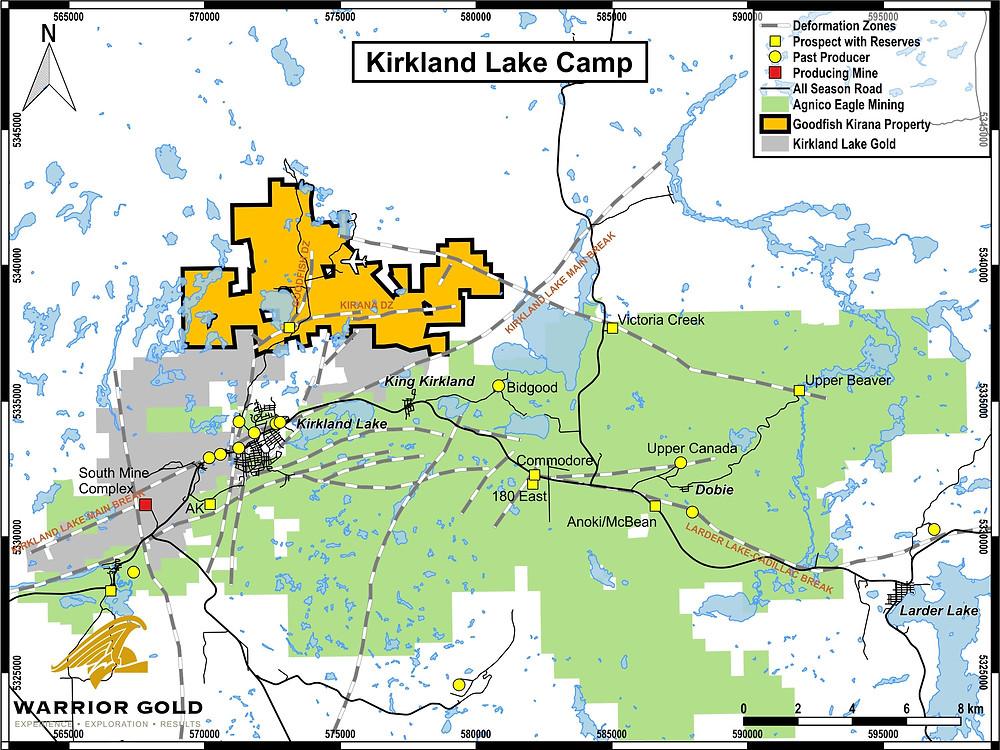 Warrior Gold Goodfish-Kirana Property, Kirkland Lake Area, Ontario