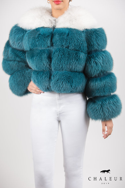 NATURAL BLUE FOX IN TURQUOISE COLOR