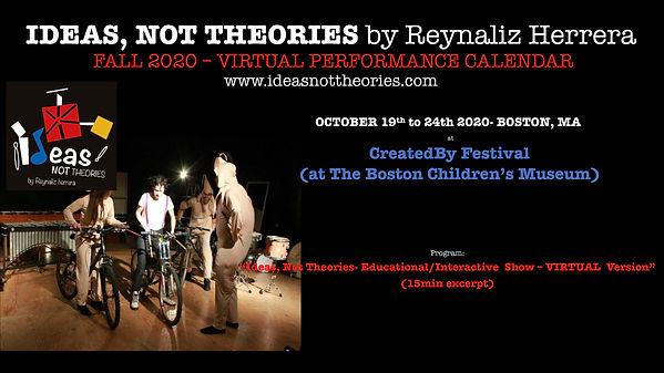 Ideas, Not Theories. FALL 2020 Calendar1
