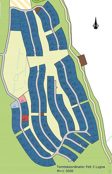 4-Tomtekoordinater_Felt_3-Plan – Nytt design_solgte inkl prosjekttomter og reserverte - 23