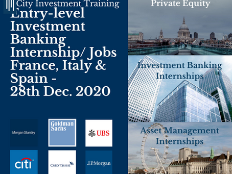 New entry-level IB jobs in France, Italy & Spain - 28th Dec. 2020