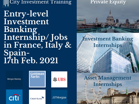 New entry-level IB jobs in France, Italy & Spain - 17th February 2021