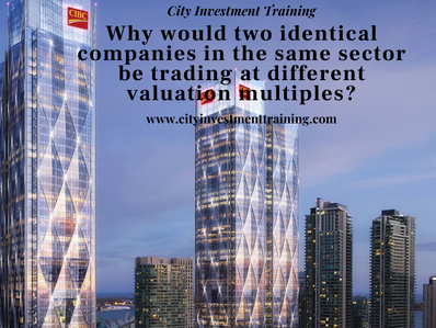 Why would two identical companies in the same sector be trading at different valuation multiples?