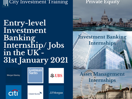 Top 25 entry-level Investment Banking jobs in the UK - 31st January 2021