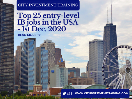 Top 25 entry-level Investment Banking jobs in the USA - 1st December 2020