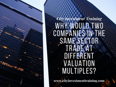 Why would two companies in the same sector trade at different valuation multiples?