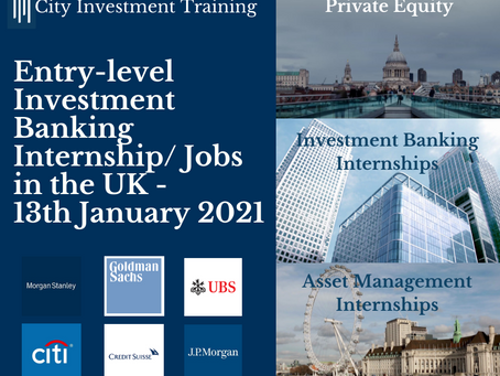 Top 25 entry-level IB jobs in the UK - 13th January 2021