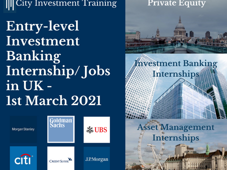 Top 25 entry-level Investment Banking jobs in the UK - 1st March 2021