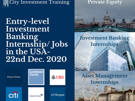 Top 25 entry-level IB jobs in the USA - 22nd Dec. 2020