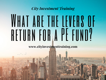 What are the levers of return for a PE fund?