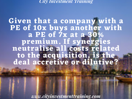 If synergies neutralise all costs related to the acquisition, is the deal accretive or dilutive?