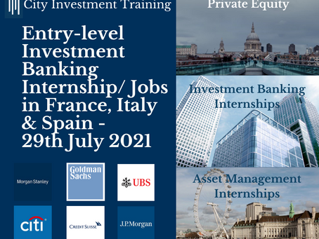 New entry-level IB jobs in France, Italy & Spain -29th July 2021