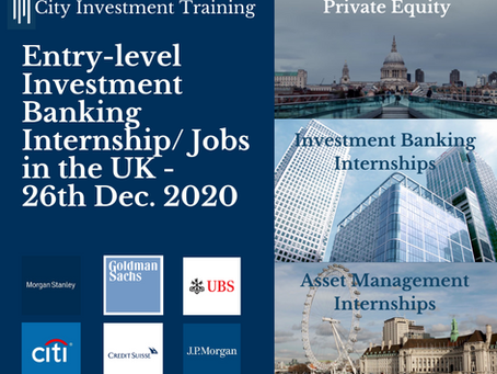 Top 25 entry-level IB jobs in the UK - 26th Dec. 2020