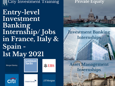 New entry-level IB jobs in France, Italy & Spain - 1st May 2021