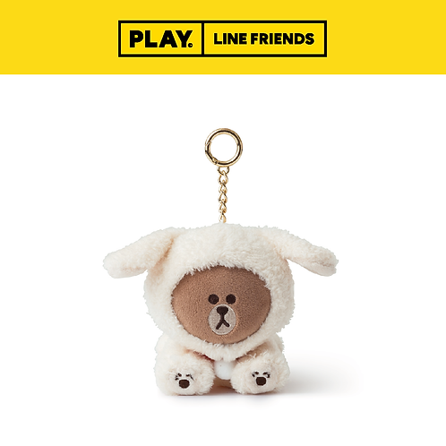 Puppy BROWN Keyring #Ivory