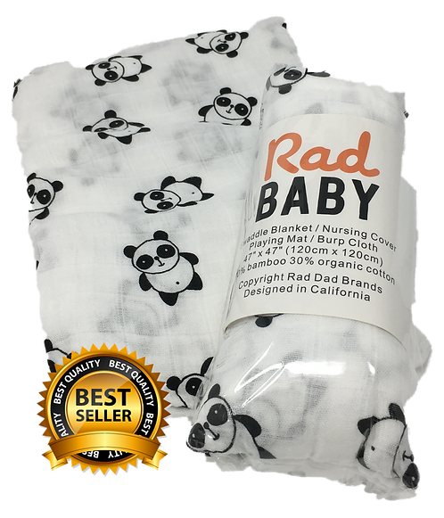 Rad Baby Super Soft Organic Panda Swaddle Blanket