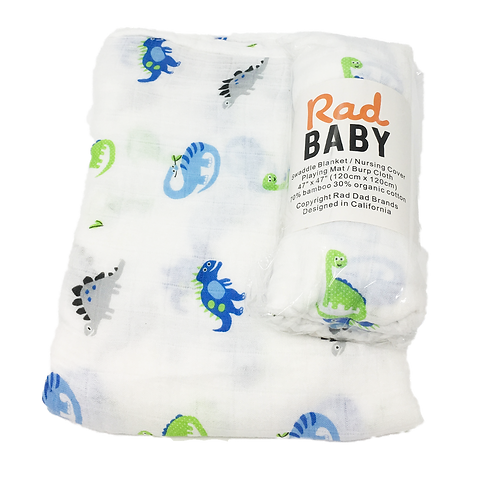Rad Baby Super Soft Organic Dinos Swaddle Blanket