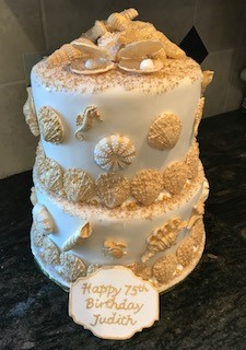 ELEGANT SEA-SCAPED TWO TIERED CAKE