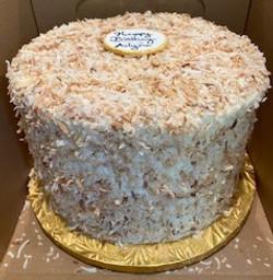CHOCOLATE TOASTED COCONUT CAKE