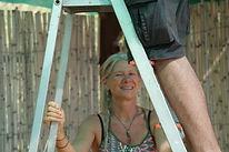Apinaya holding ladder, Amiras, Greece