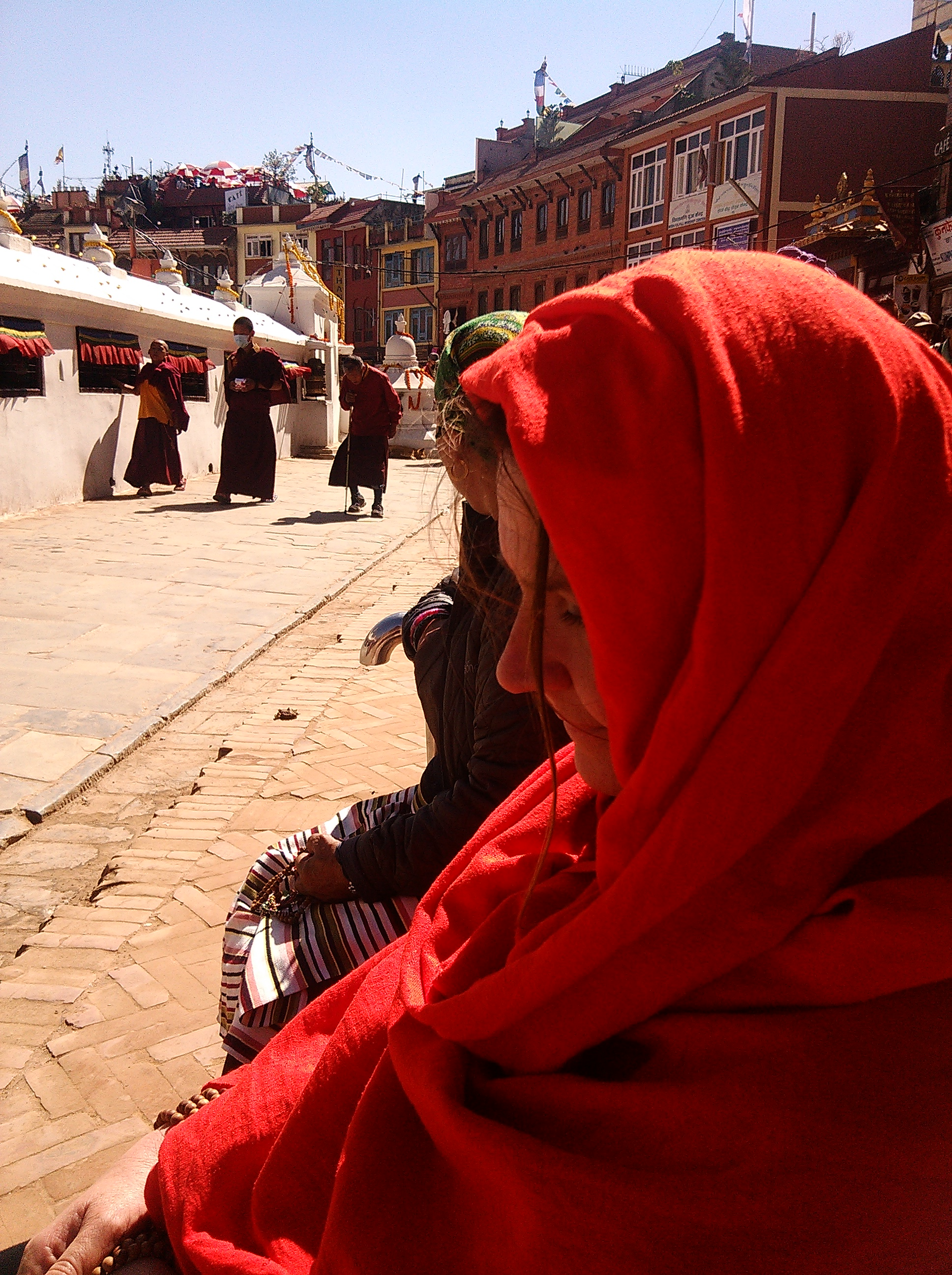 At Boudha Stupa in Kathmandu