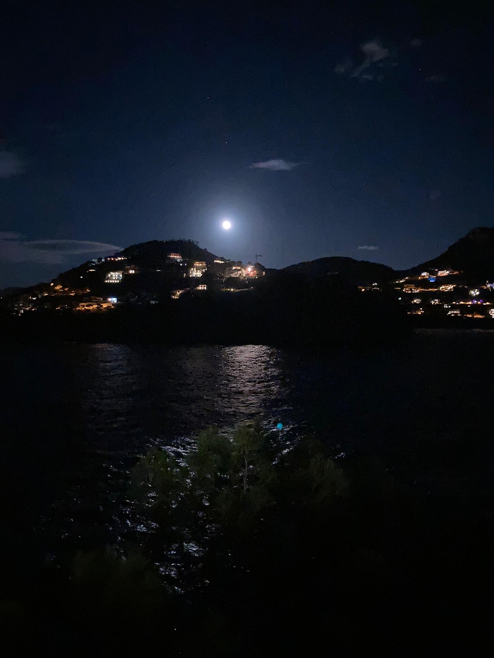 Andrax by night, mallorca, full moon.