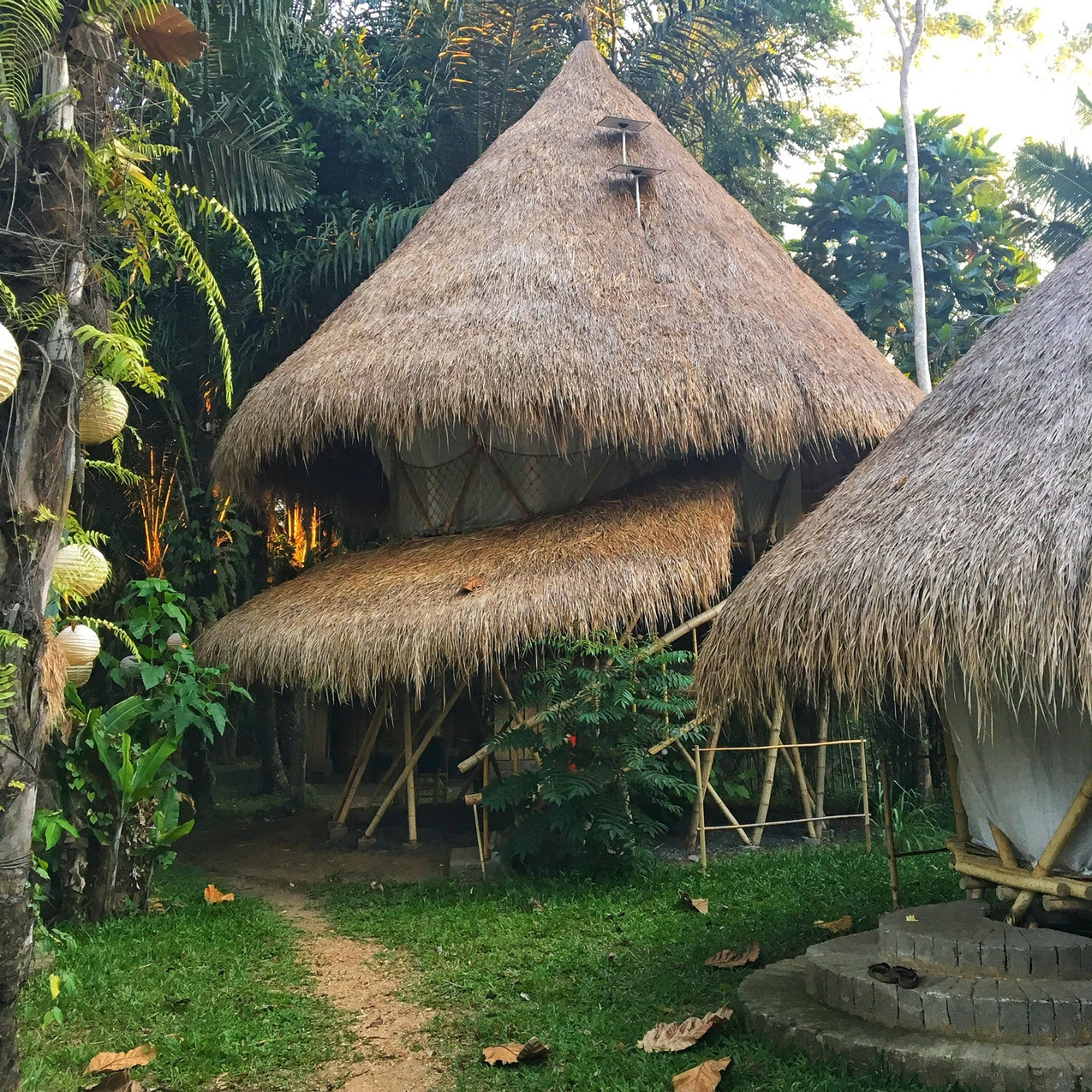 Our housing at the Kul Kul Farm: Traditional bamboo buildings with bale roofs and a little solar pannel for the lights and fan.