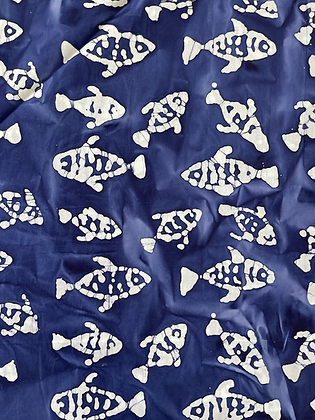 Batik Fabric Navy Fish