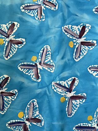 Batik Fabric Turquoise Butterfly