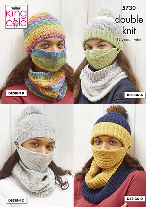 Knitted Hats, Face Coverings and Cowl Pattern
